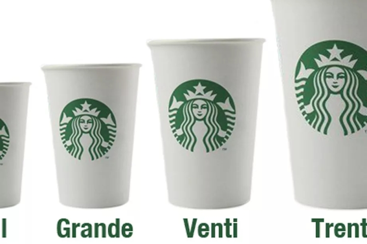 Starbucks coffee cups sizes tall grande venti trenta Alderina